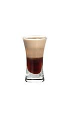 0155 Shot - The 0155 Shot is made from Kahlua, Sambucca and Baileys, and served layered in a shot glass.
