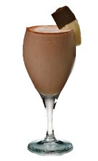 African Brew - The African Brew drink is made from Amarula, chocolate ice cream, ice and a small banana, and served in a chilled white wine glass.