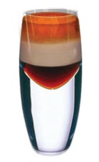 Amarula B52 Shot - The Amarula B52 shot is made by layering Kahlua coffee liqueur, Amarula cream liqueur and Grand Marnier orange liqueur in a chilled shot glass.