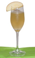 Apple Pie - The Apple Pie drink is made from rum, apple pie liqueur and Cointreau, and served in a chilled sour glass.