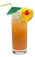 Bahama Mama - The Bahama Mama drink is made from dark rum, light rum, coconut rum, orange juice, pineapple juice and lemon juice, and served in a highball glass.