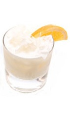Coconut Chiller - The Coconut Chiller drink is made from Leblon Cachaca, pineapple juice and coconut cream, and served in an old-fashioned glass.