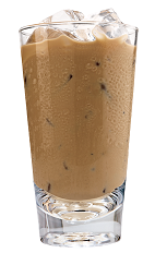 Kahlua Iced Coffee - The Kahlua Iced Coffee drink is made from Kahlua coffee liqueur, iced coffee and cream, and served in a highball glass.