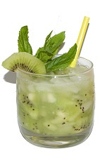 Kiwi Caipirinha - The Kiwi Caipirinha is made from cachaca, kiwi, sugar and ice.