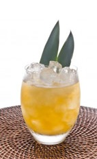 Passion Pineapple Caipirinha - The Passion Pineapple caipirinha is made from cachaca, passionfruit, mint, pineapple and lemon-lime soda, and served in an old-fashioned glass.