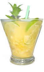 Pineapple Caipirinha - The Pineapple Caipirinha is made from cachaca, pineapple, ginger and lime