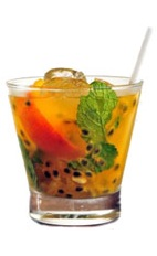 Priprioca Caipirinha - The Priprioca Caipirinha drink is made from cachaca, priprioca syrup (an Amazonian root), passionfruit, mint and lemon, and served in an old-fashioned glass.