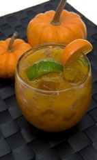 Pumpkin Caipirinha - The Pumpkin Caipirinha drink is made from cachaca, ginger liqueur, pumpkin puree, agave nectar and lime, and served in an old-fashioned glass.