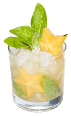 Starfruit Caipirinha - The Starfruit Caipirinha is made from cachaca, starfruit, basil leaves and sugar, and served in an old-fashioned glass.