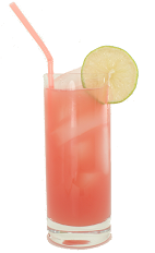 The Last High Drink - The Last High Drink is made from Orange Curacao, Malibu Rum and guava juice, and served in a highball glass.