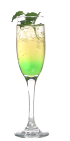 Absolut Green Wedding - The Absolut Green Wedding drink is made from Absolut vodka, Midori melon liqueur, Roses lime and champagne, and served in a champagne flute.