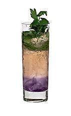 Absolut Prosperity - The Absolut Prosperity drink is made from vodka, Parfait Amour, Lychee Liqueur, lime cordial, mint leaves and Schweppes Russian, and served in a highball glass.