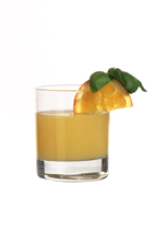 Agent Orange 1 - This version of the Agent Orange drink is made from vodka, Mandarine Napoleon, Cointreau and orange juice, and served in an old-fashioned glass.