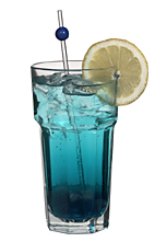 Alp Top - The Alp Top drink is made from gin, blue curacao, peach liqueur and tonic water, and served in a highball glass.