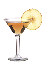 Apple Knocker Martini - The Apple Knocker Martini cocktail is made from vodka, Sourz Apple and apple juice, and served in a cocktail glass.
