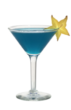 Brid - The Brid cocktail is made from gin, blue curacao, lemon juice and egg white, and served in a cocktail glass.
