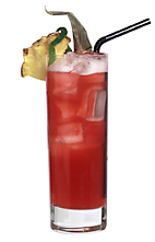 Club Twain - The Club Twain drink is made from white rum, Passoa, cranberry juice and pineapple juice, and served in a highball glass.