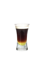 Picture of Galliano Hot Shot. The Galliano Hot Shot is made from Galliano, coffee and whipped cream, and served layered in a shot glass.