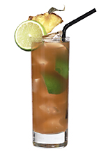 La Habana - The La Habana drink is made from dark rum, Tia Maria, Angostura bitters, lime juice and pineapple juice, and served in a highball glass.