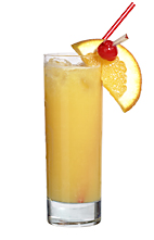 Room Service - The Room Service drink is made from white rum, cognac, pineapple juice, orange juice and tonic water, and served in a highball glass.