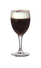 Saint Brendans Irish Coffee - The Saint Brendans Irish Coffee drink is made from Irish Cream (Saint Brendan's) and fresh coffee, and served in a white wine glass.