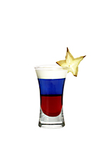 Stars and Stripes - The Stars and Stripes shot is made from grenadine, blue curacao and light cream, and served in a shot glass.