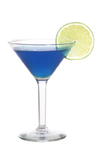 Woman Warrior - The Woman Warrior cocktail is made from vodka, blue curacao and fresh lime juice, and served in a cocktail glass.