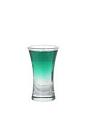 The 69er shot is made from creme de menthe (green) and creme de cacao (white), and served in a shot glass.