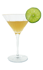 The After Dinner Cocktail is made from Apricot Brandy, Triple sec and lime juice, and served in a cocktail glass.