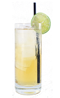The Apple Fizz is made from Apple Brandy, apple juice, fresh lime juice and club soda, and served in a chilled highball glass.