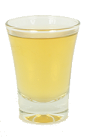 Between the Sheets is made from Brandy, Triple Sec, Rum and lemon juice, and served in a shot glass.
