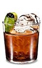 The Lime Black Russian is a modern variation of the classic Black Russian drink, made from Kahlua coffee liqueur, vodka and lime, and served in an old-fashioned glass.