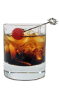 The Black Russian drink is made from Vodka and Kahlua, and served over ice in an old-fashioned glass.