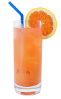 The Blood Orange is made from vodka, Campari and orange juice, and served in a highball glass.