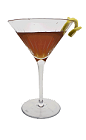 The Brandy Cassis cocktail is made from Brandy, Creme de Cassis and fresh lemon juice, and served in a cocktail glass.