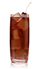 The Chocolat Kokonut Coke drink is made from Stoli Chocolat Kokonut vodka and Coke, and served in a highball glass.