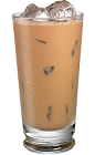 The Kahlua Cafe con Leche drink is made from Kahlua coffee liqueur, espresso and half-and-half, and served in a highball glass.