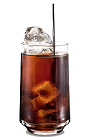 The Kahlua n Coke drink is made from Kahlua coffee liqueur and Coke, and served in a highball glass.