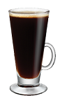 The Kahlua Hot Coffee drink is made from Kahlua coffee liqueur and hot coffee, and served in an Irish coffee glass.