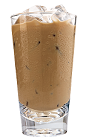 The Kahlua Iced Coffee drink is made from Kahlua coffee liqueur, iced coffee and cream, and served in a highball glass.