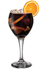 The Kahlua Sangria drink is made from Kahlua coffee liqueur and sangria (red wine, fresh fruit, club soda), and served in a chilled wine glass.