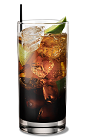 The Club Kahlua drink is made from Kahlua coffee liqueur, club soda and lime, and served in a highball glass.