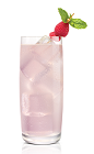 The Sweet Tart Koko drink is made from Stoli Chocolat Kokonut vodka, raspberries, lime juice and simple syrup, and served in a highball glass.