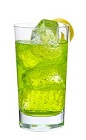 The Midori Rickey drink is made from Midori melon liqueur, club soda and lime, and served in a highball glass.