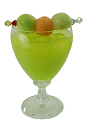 The Midori Melon Ball cocktail is made from Midori Melon Liqueur, SKYY Vodka, and orange, grapefruit or pineapple juice, and served in an old-fashioned glass.