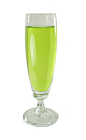 The Midori Sparkle is made from Midori Melon Liqueur and Dry Sparkling Wine, and served in a champagne flute.