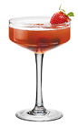 The PAMA and Circumstance cocktail is made from PAMA Pomegranate Liqueur, vodka, Hpnotiq, simple syrup and cranberry juice, and served in a chilled cocktail glass.
