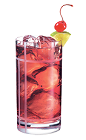 The Club PAMA drink is made from PAMA Pomegranate Liqueur and club soda, and served in a highball glass.