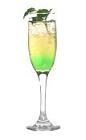 The Absolut Green Wedding drink is made from Absolut vodka, Midori melon liqueur, Roses lime and champagne, and served in a champagne flute.