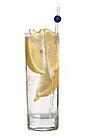 The Absolut Rickey drink is made from citrus vodka (aka Absolut Citron) and club soda, and served in a highball glass.